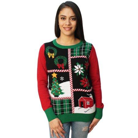 ugly christmas sweater womens christmas collage led light up sweater - Ugly Christmas Sweaters At Walmart