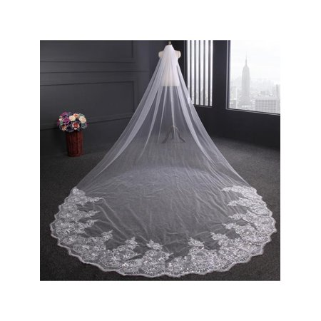 4m White / Ivory Luxury 1 Tier Bridal Veil Cathedral Wedding Lace Sequins Long Veil With Comb Diamond White Bridal Veil