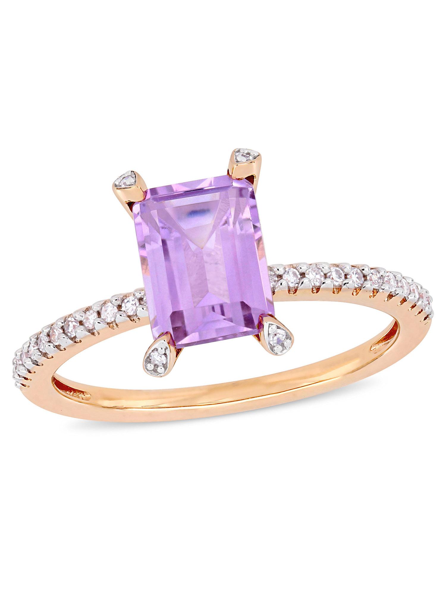 Tangelo 1-5/8 Carat T.G.W. Rose de France and 1/10 Carat T.W. Diamond 10kt Rose Gold Engagement Ring