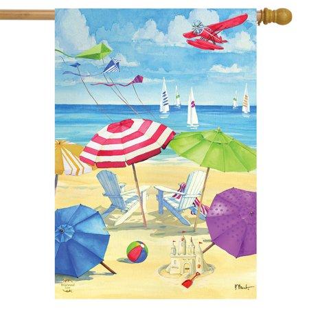 Umbrella Coast Summer House Flag Nautical Shoreline 28  x 40  Briarwood Lane Umbrella Coast Summer House Flag Nautical Shoreline 28  x 40  Briarwood Lane condition: New Brand: Briarwood LaneMPN: H00808Material: PolyesterSize: 28  x 40