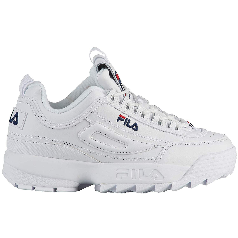 Fila Big Kid's Disruptor II Running Sneakers (5 M US Big Kid, White Peacoat Red)