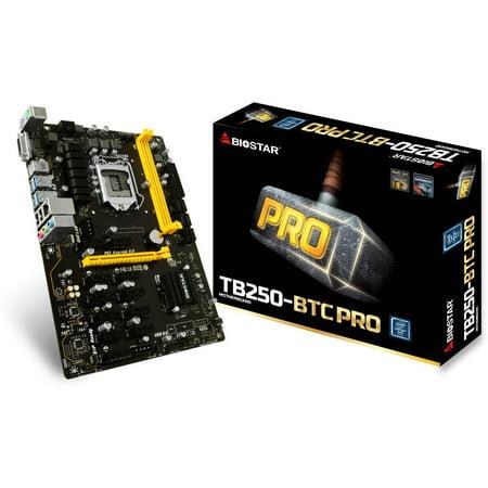 Biostar Motherboard TB250-BTC PRO Core i7/i5/i3 LGA1151 Intel B250 DDR4 Supports 6 AMD and 6 Nvidia Graphics (Card Motherboard)