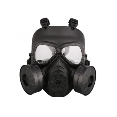 Ropalia Airsoft Gas Mask Double Filter Fan Perspiration Anti-Dust Eye Protect Face Guard - Toy Gas Mask