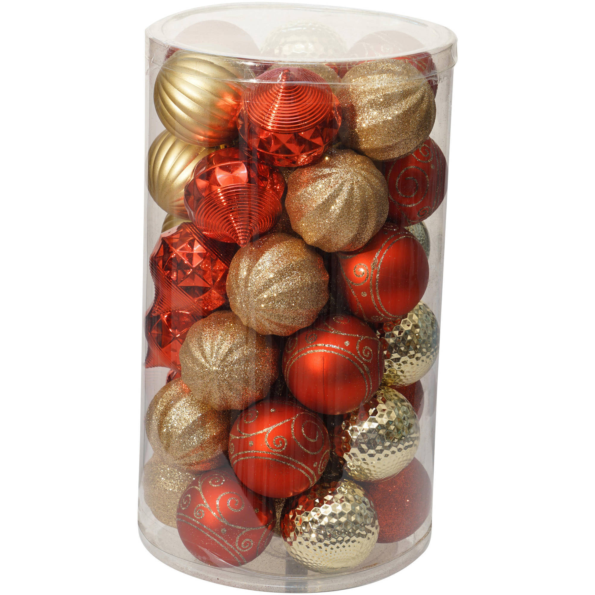 Holiday Time Christmas Ornaments 60mm Shatterproof Ornament, Set of 41