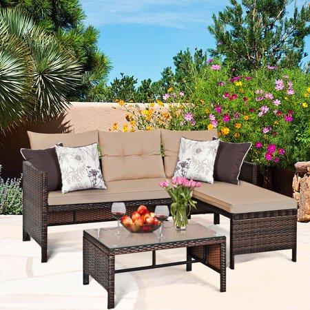 Costway 3PCS Patio Wicker Rattan Sofa Set Outdoor Sectional Conversation Set Garden Lawn - image 7 of 9