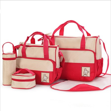 Diaper Tote Bag 5 pcs Nappy Bag Set Water-proof Large Capacity Travel Handbag Shoulder Bag Include Changing Pad Fashion Dotted Unisex for Baby Mom Dad Red (Diaper Bag Pink And Brown)