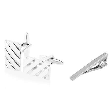 (Cufflinks and Tie Clip set for men by Zodaca Stainless Steel Cuff Links Silver Twill Pattern + Silver Sparse Slash Brushed Tie Clip (gift for dad))