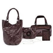 Adria Croco Embossed Faux Leather 4 Piece Tote Set - Mocca