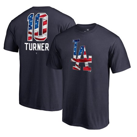 Justin Turner Los Angeles Dodgers Fanatics Branded Banner 2018 Stars & Stripes Wave Name & Number T-Shirt - Navy