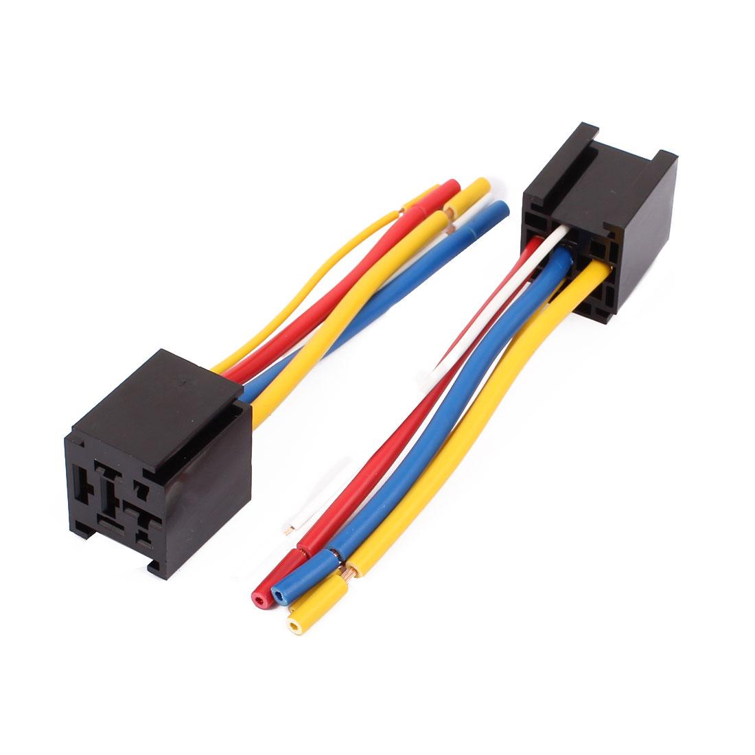 2 Pcs Car Truck DC 12V/24V 80A Relay Socket 5 Pin 5 Wire Socket
