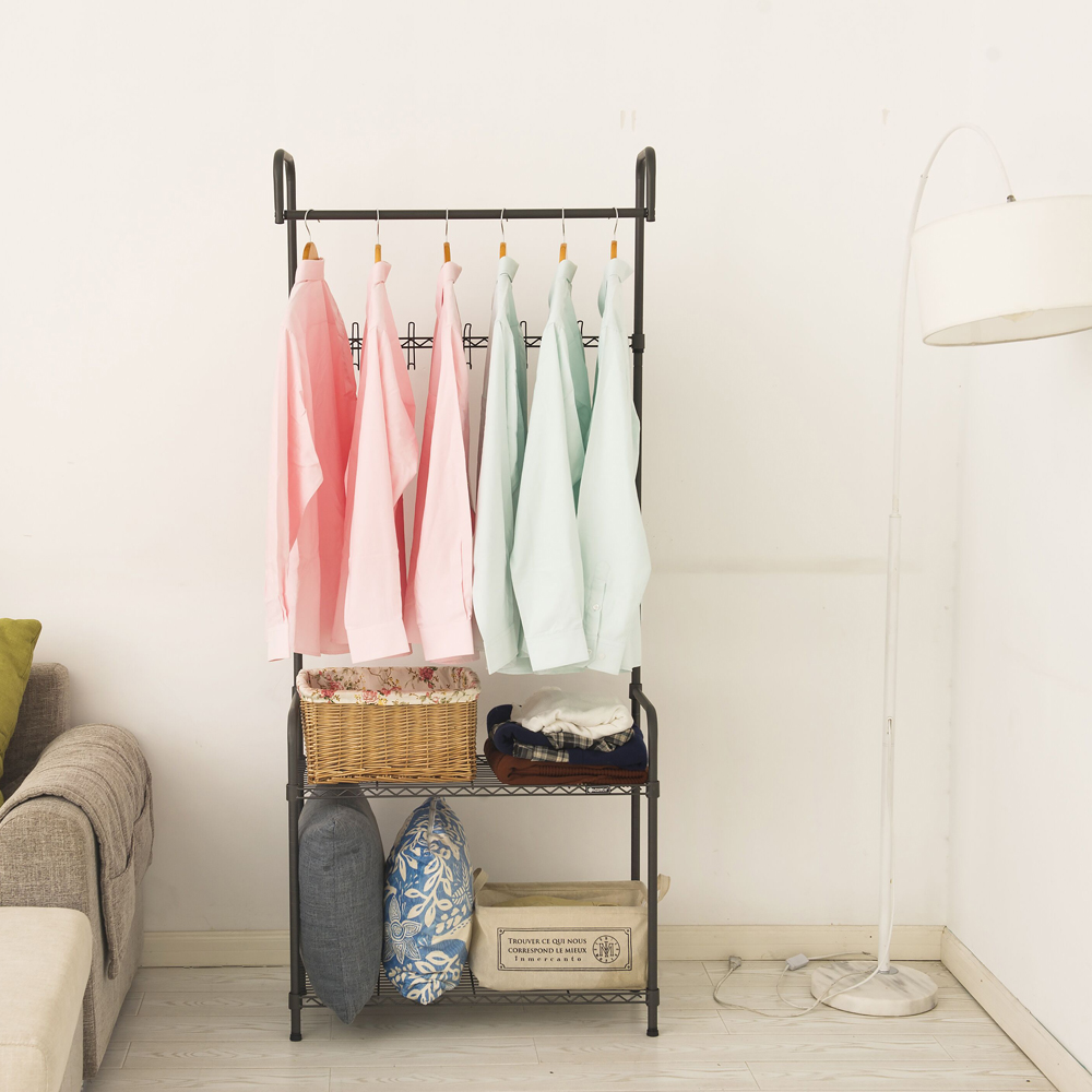 Rolling Clothes Rack With Shelves, Coat Rack Storage Stand on