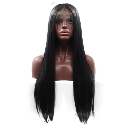 Beroyal Hair Lace Frontal Wig Long Straight Hair Black Color Half Hand Tied Heat Resistant Lace Frontal Synthetic Wig with Baby Hair, (Roma Lee Synthetic Hair Half Wig Sf Faith)