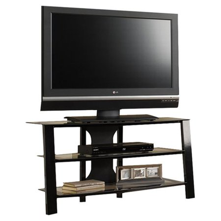 Sauder Mirage Panel TV Stand for TVs up to 42u0022, Black/Clear Finish