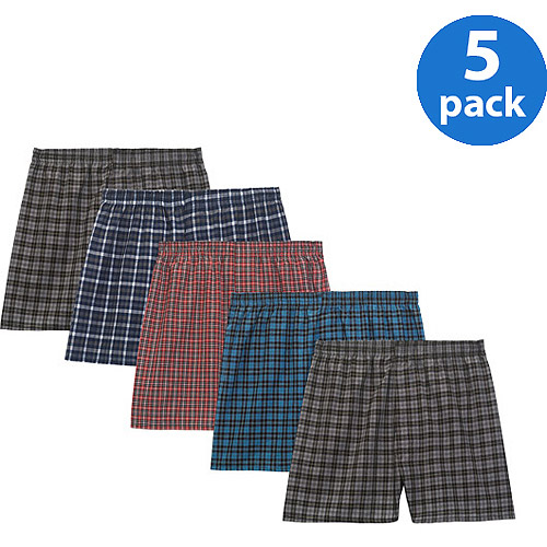 Fruit of the Loom Men's Woven Tartan Boxers, 5 Pack