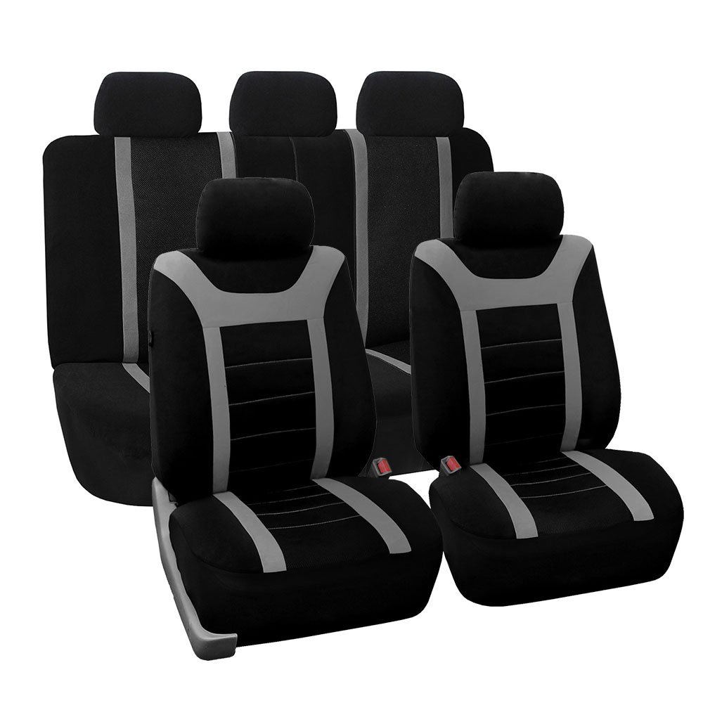 FH Group Gray and Black Airbag Compatible and Split Bench Sports Car Seat Cover, Full Set