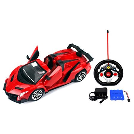 Speed King Racing Remote Control RC Sports Car Ready To Run w/ LED Headlights, Opening Doors (Colors May Vary)