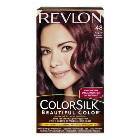 Revlon ColorSilk 48 Burgundy Permanent Hair Color, 1.0 KIT ...