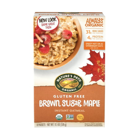 - Nature's Path Brown Sugar Maple Instant Oatmeal, Organic Gluten Free Hot Cereal, 8 Packets