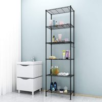 Wire Shelving Rack 6-Tier Wire Shelving Storage Organizer Rack Adjustable Height w/ Side Hooks