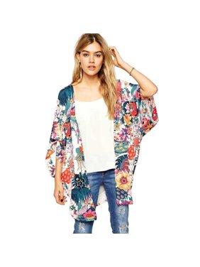 02dac77fa84b86 Product Image iLH Women Fashion Casual Floral Print Kimono Loose Cardigan  Chiffon Tops Blouse
