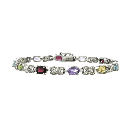 Multi Stone Silver Bangle (Silver Tone Multi Color Gemstone & Diamond Accent X & Oval Bracelet )