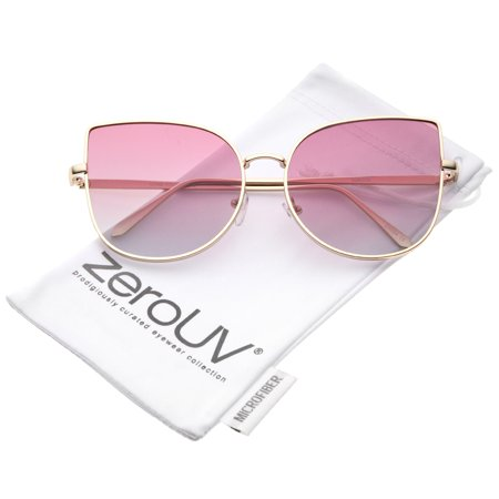 zeroUV - Women's Oversize Slim Metal Frame Gradient Colored Flat Lens Cat Eye Sunglasses - 58mm