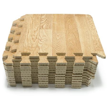 Sorbus Wood Grain Floor Mats Foam Interlocking Mats Each Tile - 3 inch square ceramic tiles