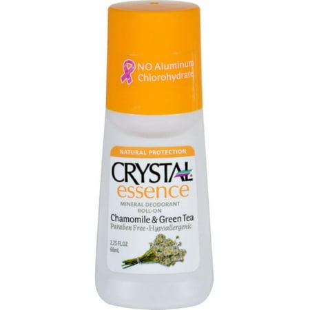 2 Pack - Crystal Essence Mineral Deodorant Roll-On, Chamomile & Green Tea 2.25 oz