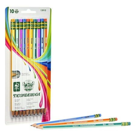 Ticonderoga Striped Wood-Cased Pencils, Assorted Colors, 10 ct