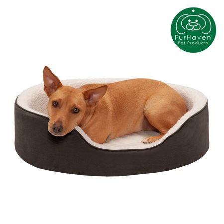 FurHaven Pet Dog Bed | Orthopedic Faux Sheepskin & Suede Oval Lounger Pet Bed for Dogs & Cats, Espresso, Large Designer Oval Dog Bed