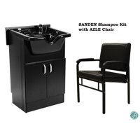Set of SANDEN Shampoo Cabinet (Shampoo Bowl, Faucet, Drain) and AZLE Reclining Shampoo Chair BLACK for Beauty Salon and Spa