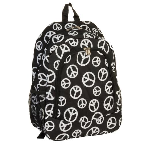 """16.5"""" Black & White Peace Backpack Travel School Book Bag w/ Padded Straps"""