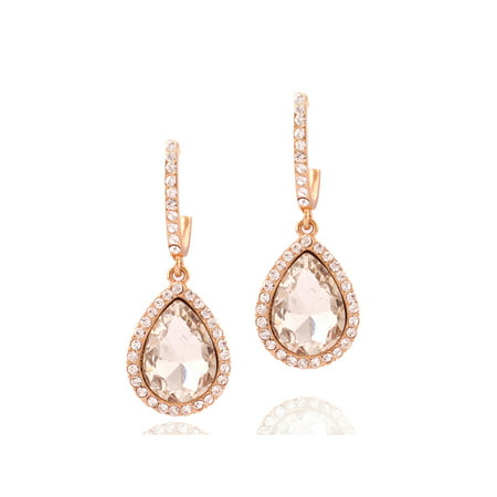Fashion Earrings Rose Gold Plating Oval Rhinestone Dangle Earrings (Golden Rhinestone Earrings)