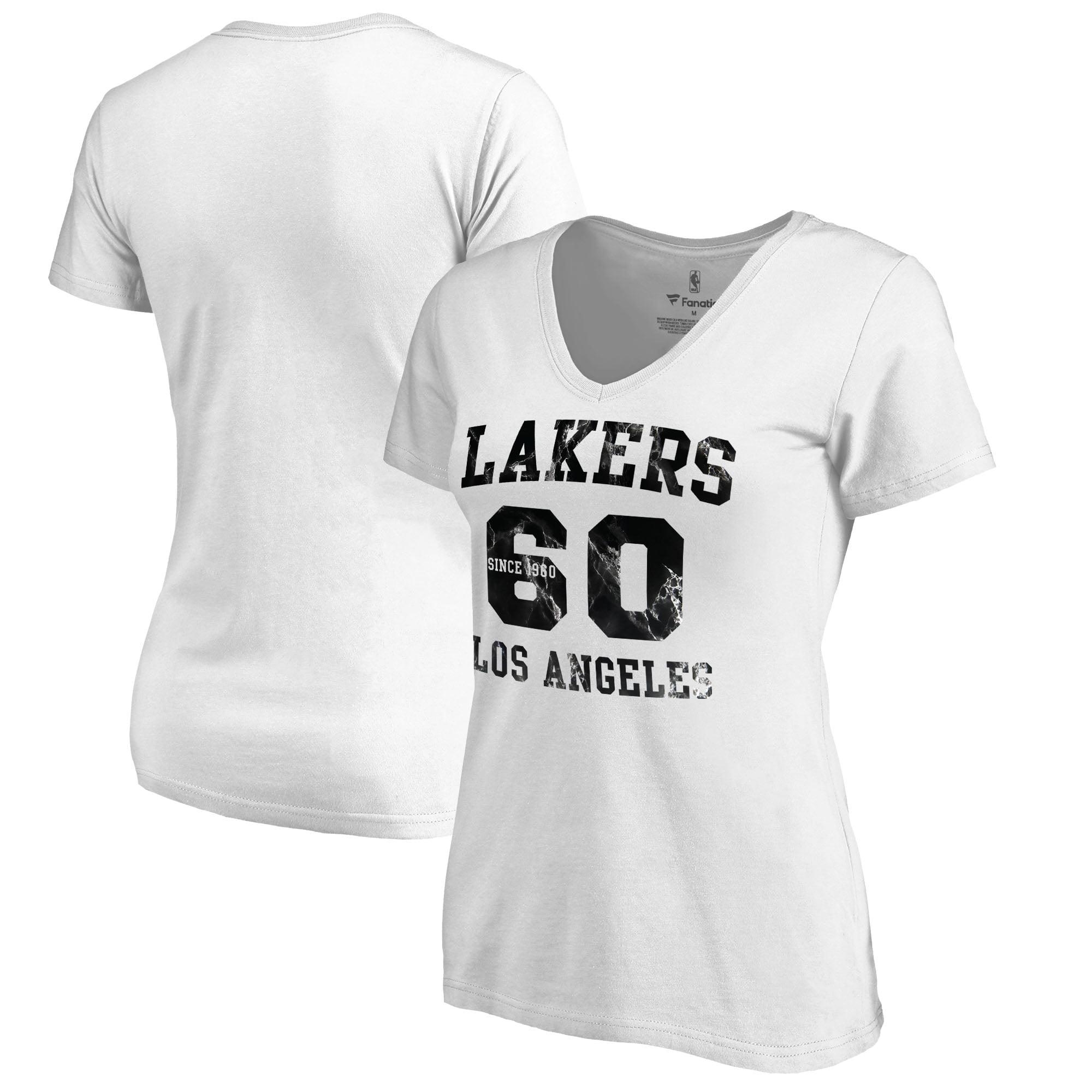 Los Angeles Lakers Fanatics Branded Women's Hang Time Plus Size V-Neck T-Shirt - White
