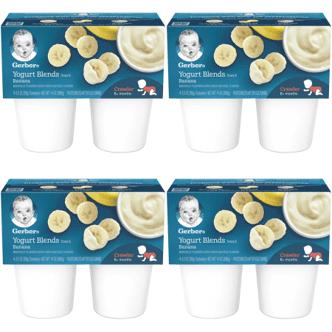 (4 Pack) Gerber Yogurt Blends Snack Banana Yogurt 4-3.5 oz. Cups