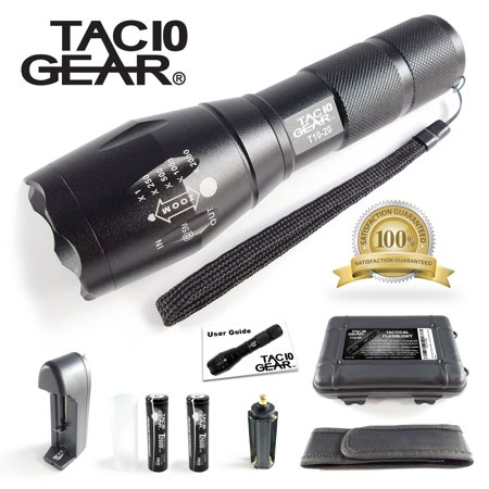 TAC10 GEAR XML-T6 Tactical LED Flashlight 1000 Lumens + Adjustable Zoom Focus + 5 User Modes + Water Resistant + 2 Rechargeable Li-Ion Batteries and Charger + Holster and Storage
