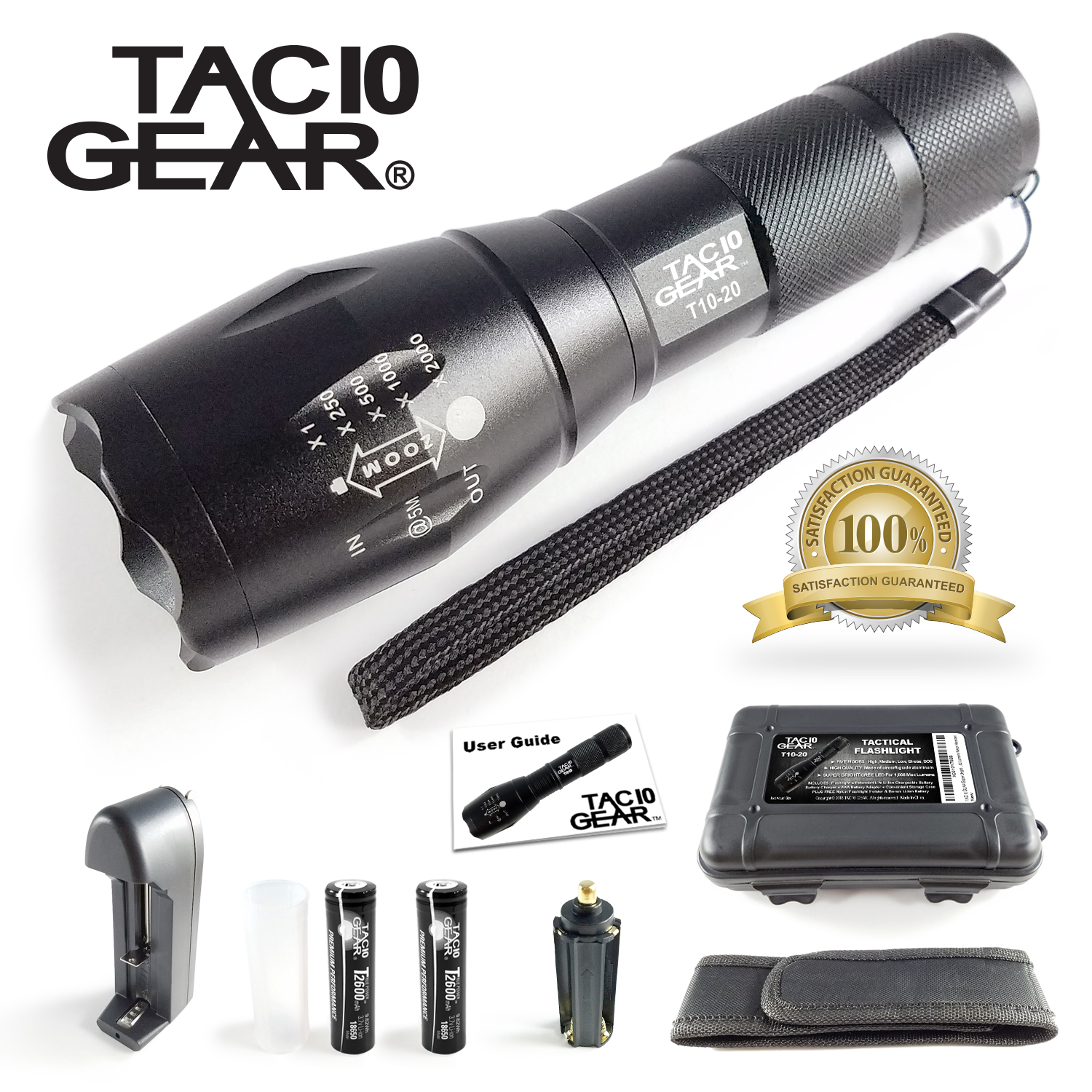 TAC10 GEAR XML-T6 Tactical LED Flashlight 1000 Lumens + Adjustable Zoom Focus + 5 User Modes + Water Resistant + 2 Rechargeable Li-Ion Batteries and Charger + Holster and Storage Case