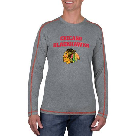 NHL Chicago Blackhawks Men's Athletic-Fit Long Sleeve Impact Tee Shirt (Chicago Blackhawks Striped Shirt)