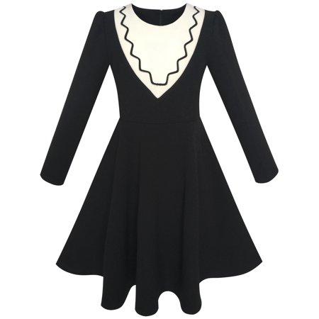 Sunny Fashion Girls Dress Back School Uniform Long Sleeve Black