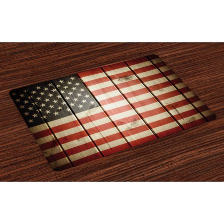 American Flag Placemats Set of 4 Usa Flag over Vertical Striped Wooden Board Citizen Solidarity Kitsch Artwork, Washable Fabric Place Mats for Dining Room Kitchen Table Decor,Blue Red, by Ambesonne
