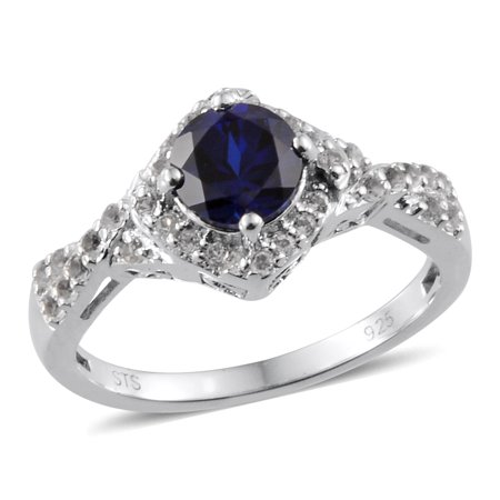 925 Sterling Silver Round Created Blue Sapphire White Topaz Halo Fashion Ring For Women Size 7 Cttw (Blue Topaz Fashion Ring)