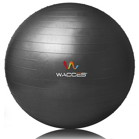 Gaui Ball - Wacces Professional Exercise, Stability and Yoga Ball for Fitness, Balance & Gym Workouts- Anti Burst - Quick Pump Included, 55 cm, Black
