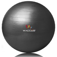 Wacces Professional Exercise, Stability and Yoga Ball for Fitness, Balance & Gym Workouts- Anti Burst - Quick Pump Included, 55 cm, Black