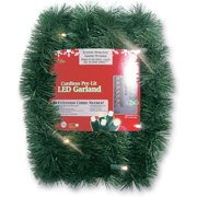 """18' x 2.5"""" Battery Operated Green Artificial Christmas Garland - Warm White LED"""