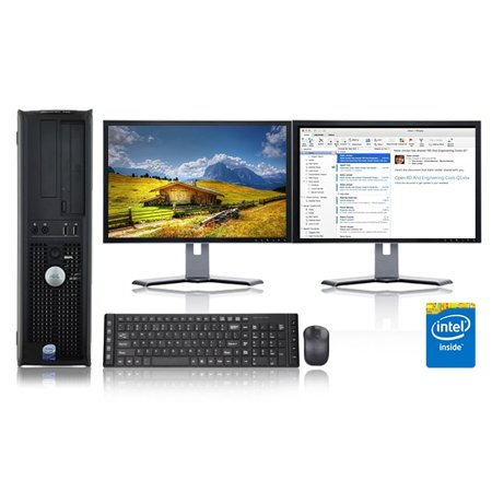 Dell Optiplex Desktop Computer 2.8 GHz Core 2 Duo Tower PC, 6GB RAM, 500 GB HDD, Windows 10, ATI , Dual 19