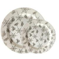 "Party Joy 120-Piece Plastic Dinnerware Set   Halloween Plates   Fun Spider Webs Collection   (60) 10.25"" Dinner Plates & (60) 7.5"" Salad Plates   Heavy Duty Premium Plastic Plates"