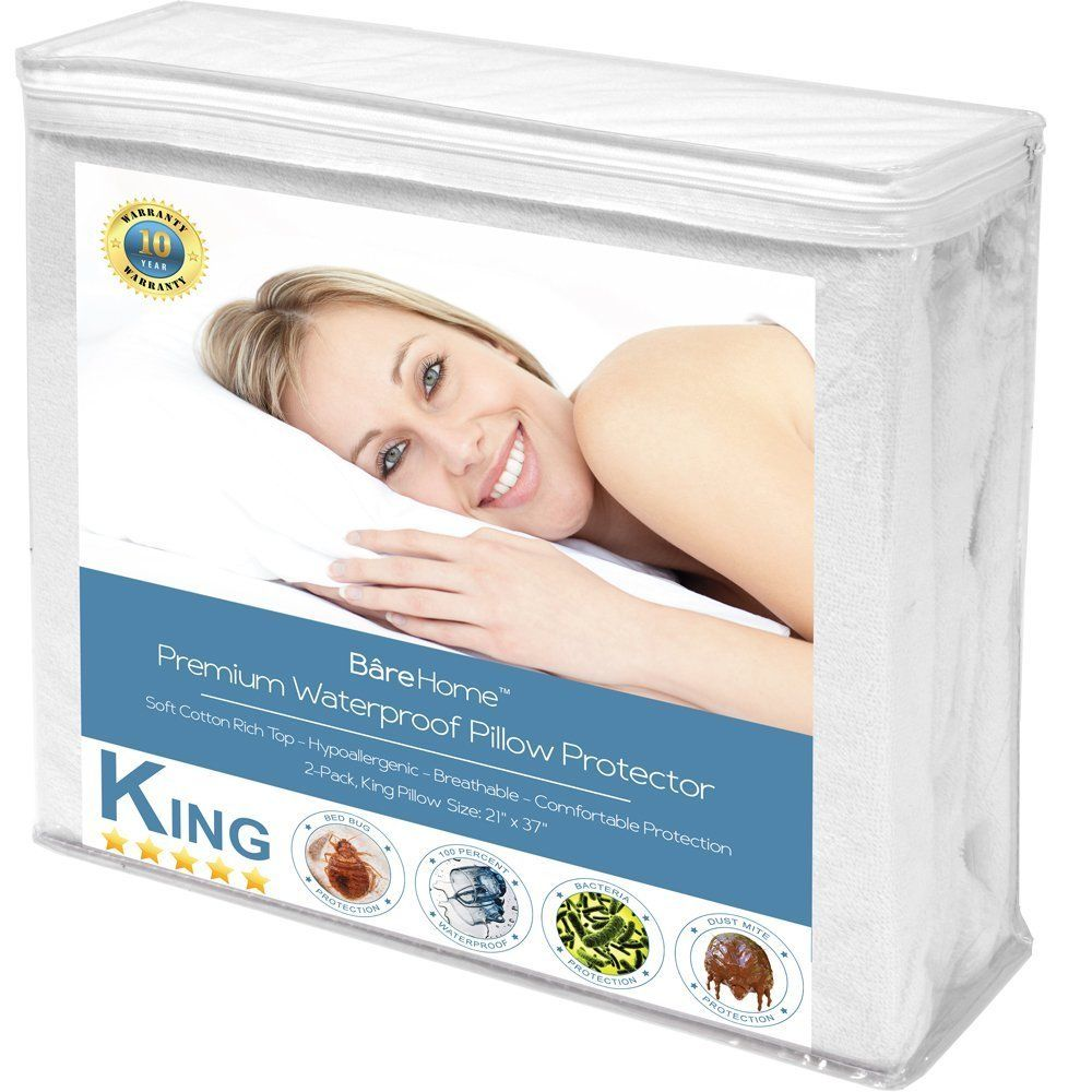 King Size Premium Pillow Protector 2 Pack 100% Waterproof Vinyl Free Hypoallergenic 10... by Bare Home