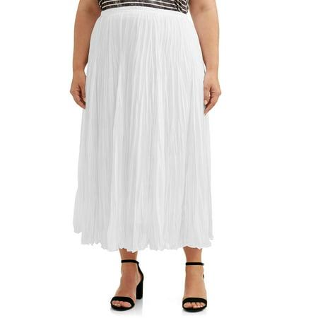 Lifestyle Attitudes Women's Plus Size Crinkle Knit Skirt Tall Knit Skirt