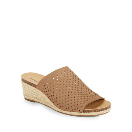 Lucky Brand Jemya Sesame Leather Perforated Open Toe Low Wedge Perforated Mule (9.5)