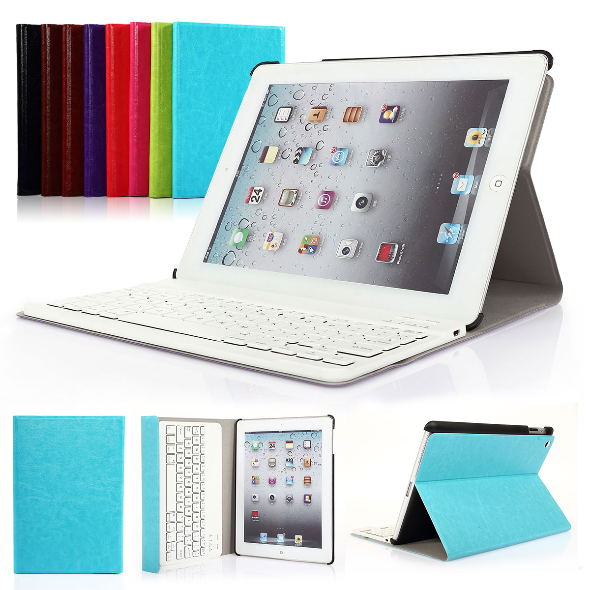 CoastaCloud Really Thin SmartShell Stand Cover with Magnetically Detachable Wireless Bluetooth Keyboard Case for Apple iPad 2 3 4